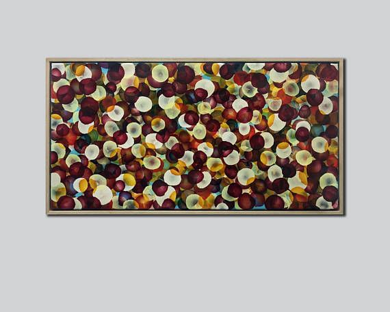PAINTING Abstract Original Art Pop Dots Burgundy Red Plum