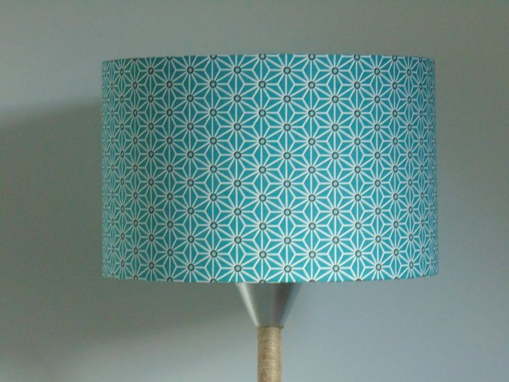 Abat-Jour cylindre motif japonais bleu étoiles géométriques rond 25cm