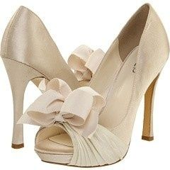 Cream bow heels