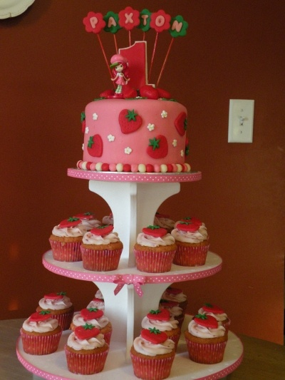 Strawberry Shortcake 1st birthday cake & cupcakes By cakechickdani on CakeCentral.com