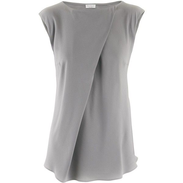 Brunello Cucinelli Silver Silk Blouse Dia found on Polyvore
