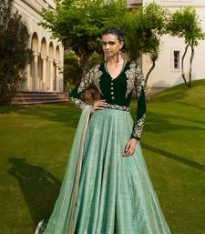 Buy Green and aqua georgette embroidered semi stitched salwar with dupatta anarkali-salwar-kameez online