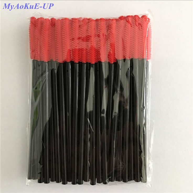 Wholesale Red Color Brush 1000 Pieces Silicone Disposable Eyelash Brush Comb Brush Cosmetic Makeup Tools  #Affiliate