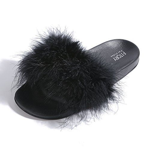 09ffb40e7277 cool FITORY Slides for Womens Faux Fur Fuzzy Slippers with Arch Support in  Flat Sandals Girls Outdoor Indoor Shoes