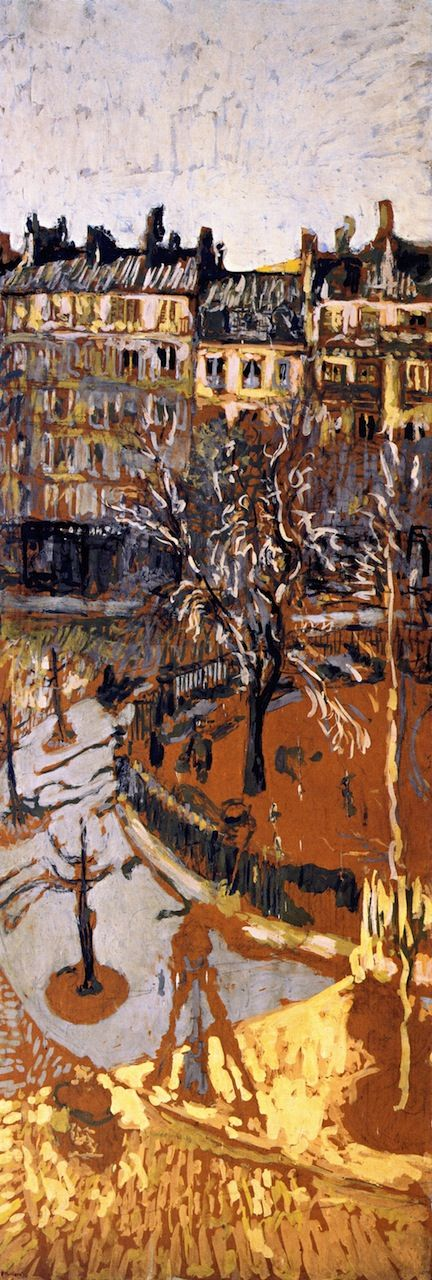 "jean-édouard vuillard(1868–1940), study for ""place vintimille"", 1910. distemper on paper mounted on canvas, 196 x 69 cm. private collection http://www.the-athenaeum.org/art/detail.php?ID=54671"
