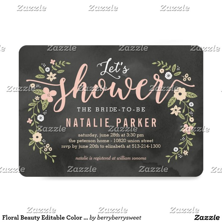 Floral Beauty Editable Colour Bridal Shower Invite
