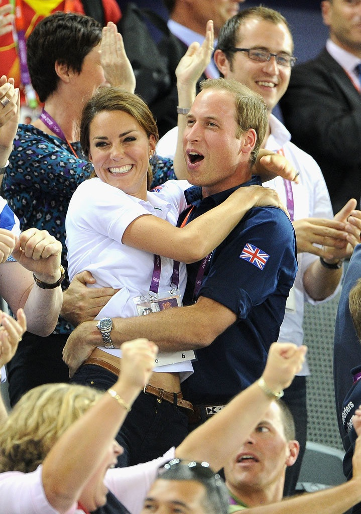 Image detail for -LONDON, ENGLAND - AUGUST 02: Catherine, Duchess of Cambridge and Prince William, Duke of Cambridge embrace after Philip Hindes, Jason Kenny and Sir Chris Hoy of Great Britain win the gold and a new world