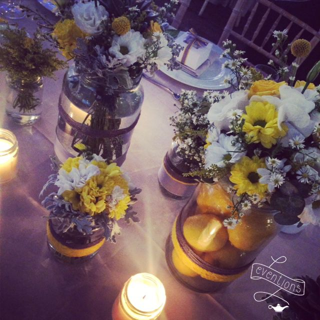 Centerpiece for a lemon themed wedding in Athens.