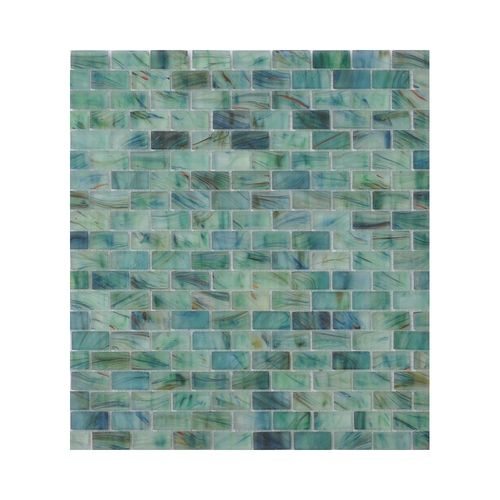 American Olean Visionaire Brick Subway Stained Glass - VA91 Peaceful Sea - 5/8 X 1-1/4 Mini Brick Subway Designer Essentials Stained Glass Tile Mosaic - Frosted