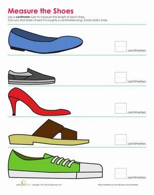 Second Grade Measurement Worksheets: Shoe Measurement
