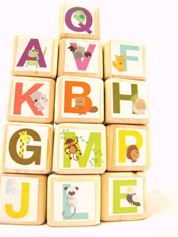 Alphabet Blocks Wood Toy ABC's Educational Toddler Toy by MiaBooo, $45.00