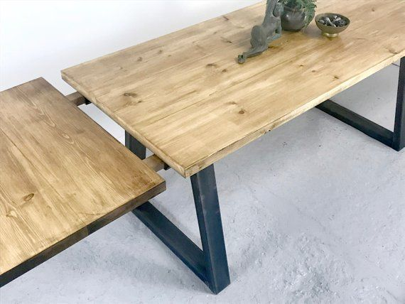 Industrial Extending Dining Table Rustic Vintage Style Dining