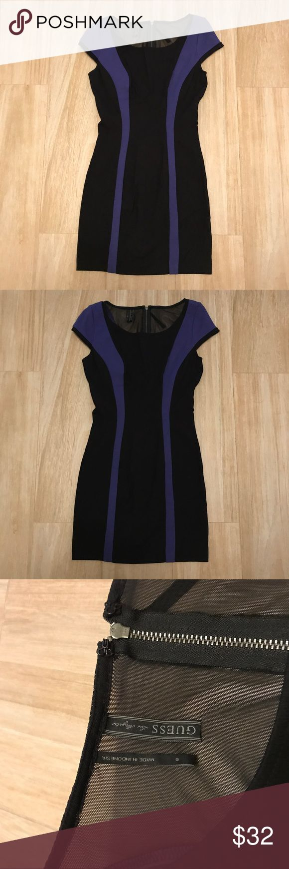 Guess Bodycon Dress Amazing black and royal blue, bodycon style Guess dress! Perfect dress for a night out! Dress features cap sleeves, flattering/slimming royal blue vertical striping, mesh panel that runs halfway down the back of the dress. Material is thick, but has lots of stretch to really show off your shape (while hiding imperfections!). Size 8, but would best be suited for a size 6 or even a large 4. Worn twice, and in great condition! Originally purchased for $98. Guess Dresses