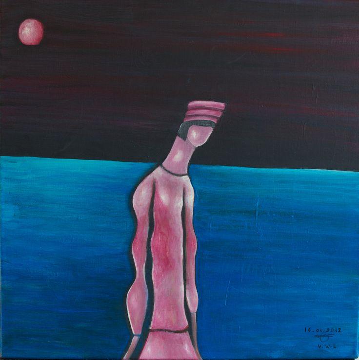 """VWL/Face/001  (Paris 2012 """" Tourmented soul"""")-Acrylic on canvas/Acrylique sur toile/Acrylico sobre tela (50X50cm)"""