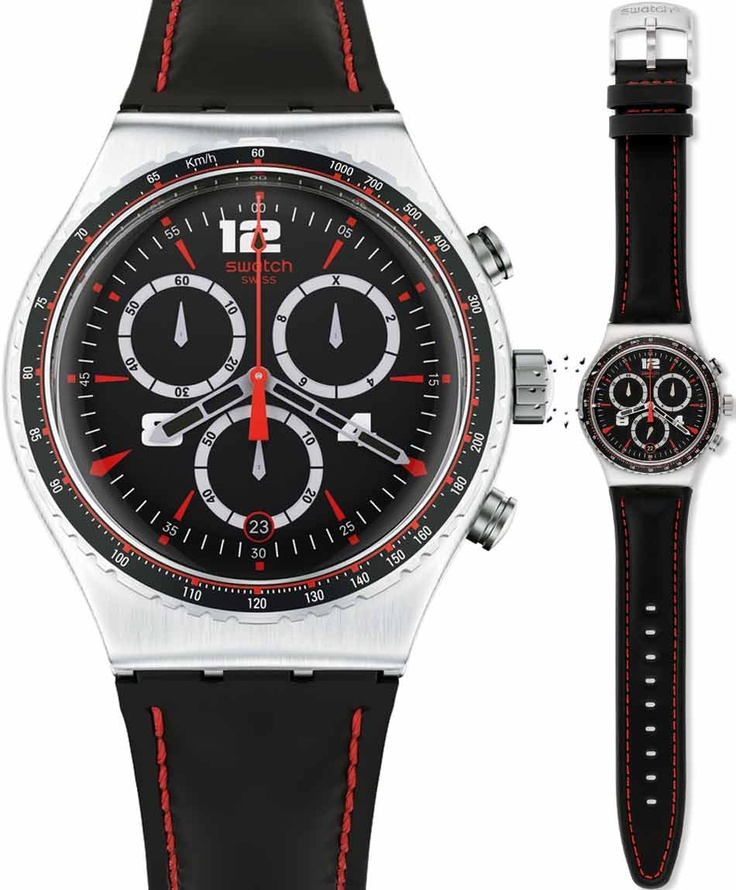 SWATCH Irony Pudong Black Leather Strap Μοντέλο: YVS404 Τιμή: 130€ http://www.oroloi.gr/product_info.php?products_id=33909