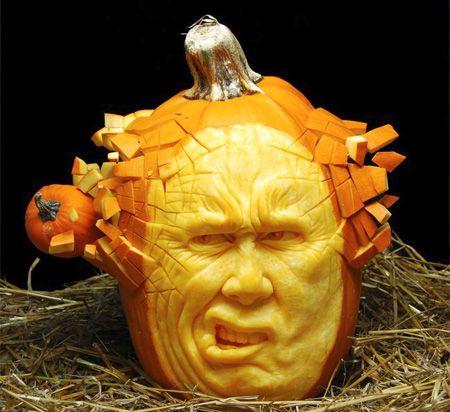 Amazing Pumpkin Carving! Pumpkin Blowing Through Pumpkin Face Head Part 83