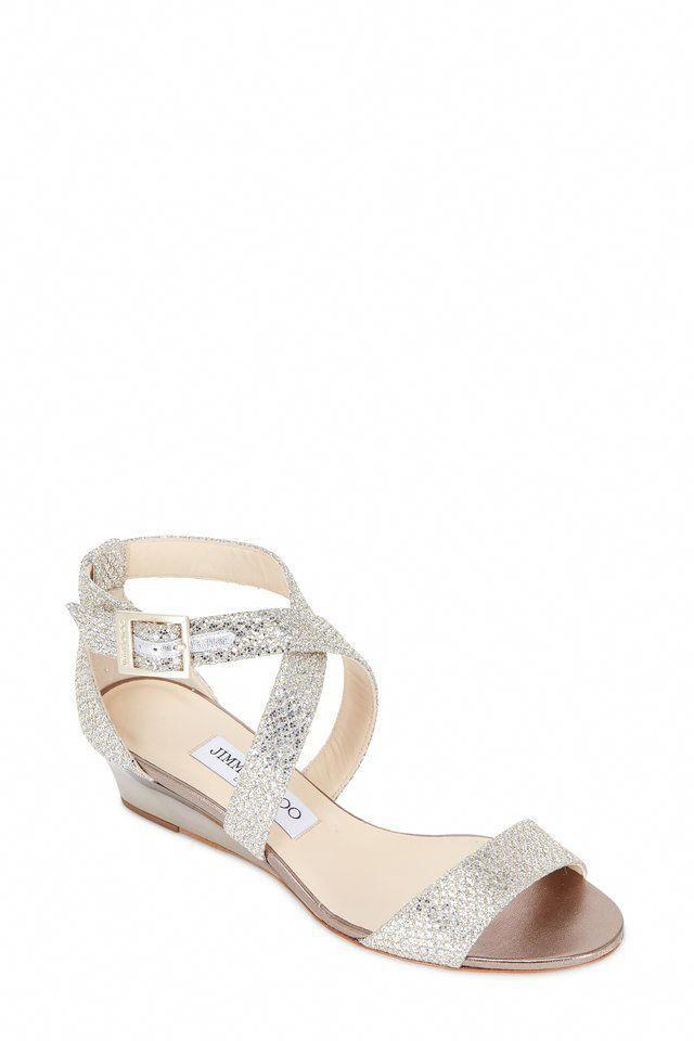 4857fe790916 Jimmy Choo - Chiara Champagne Glitter Wedge Sandal