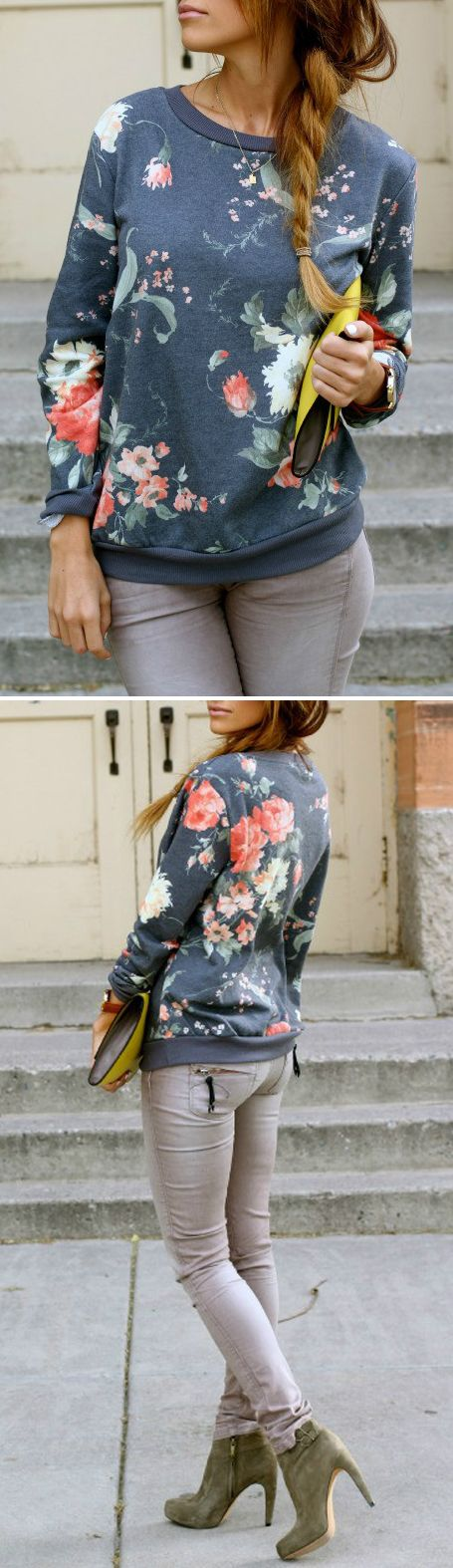 I love this floral print sweatshirt with grey jeans for a casual office or cool weather weekend look
