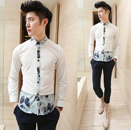 2014 Long-sleeve Unique Design Splicing Floral Shirt Slim Fit Party Night Club Shirts Hot Sale $25.88