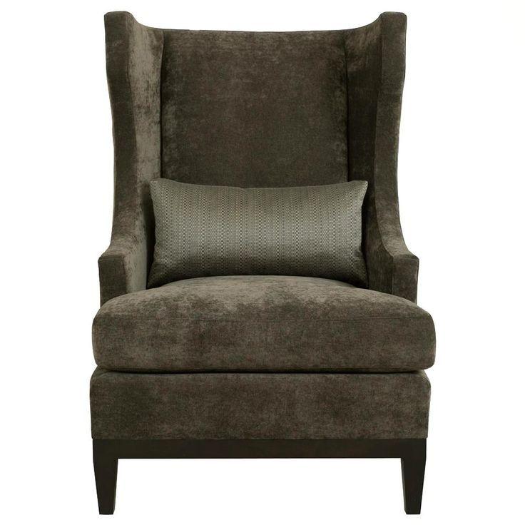 Ryker Modern Classic Mocha Wood Dark Grey Armchair Kathy Kuo Home 项目 昆明绿地海珀会所 Armchair Modern Wingback Chairs Chair And Ottoman Bernhardt Furniture