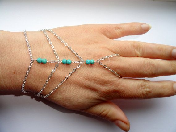 silver plated chain bracelet with turquoise