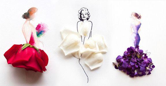 Художница рисует женщин и одевает их в цветочные платья. Нежное и живое искусство.