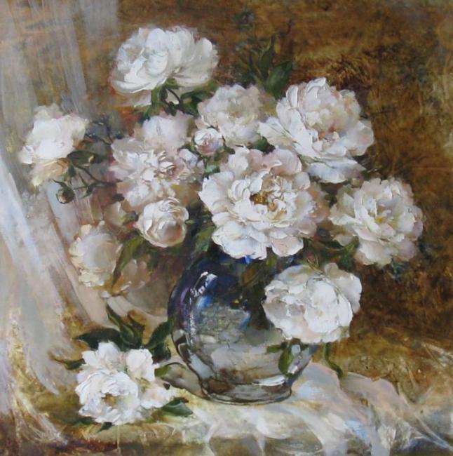 bouquet of peonies in a glass jug by Russian artist, Oksana Kravchenko (1971) Russia, Novouralsk