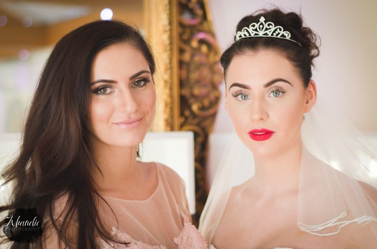 portrait of the bride and her bridesmaid. soft light. Wedding photography by Khandie Photography. http://www.khandiephotography.com... copyright Khandie Photography. Northampton, monochrome, mono,