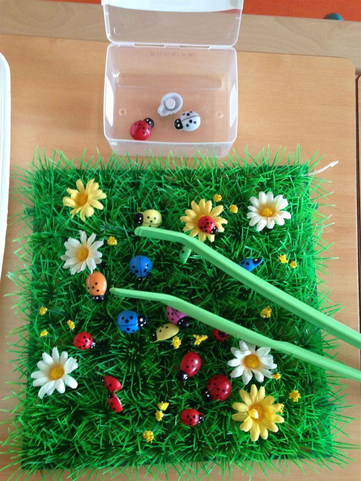"""Сенсорная коробка """"Травка"""".  Вам понадобятся травяные коврики (их можно найти в FixPrice), цветные стаканчики для сортировки, пинцеты, мелкие насекомые, паучки, гусенички и цветочки.  Дети помладше с удовольствием просто выбирают жучков и цветочки из травки. А детям постарше можно предложить рассмотреть жучков через лупу. И даже поговорить о том, к каким классам относятся жуки, а к каким пауки или бабочки.  Кстати, а вы знаете, что пауки и бабочки - это не насекомые?  #sensory_rech"""
