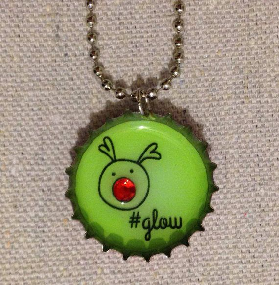 Hashtag Glow Rudolph Christmas Upcycle Bottle Cap by fromSteph, $15.00