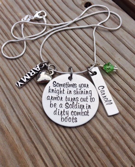 Custom Hand Stamped Military Knight in Shining Armor, wife or girlfriend, personalized, Army, Navy, Air Force, Marines, necklace hand stamped by GabbieGoodies, $32.00
