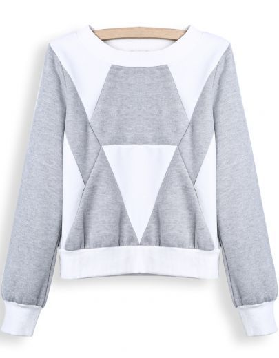 Grey White Long Sleeve Geometric Print Crop Sweatshirt