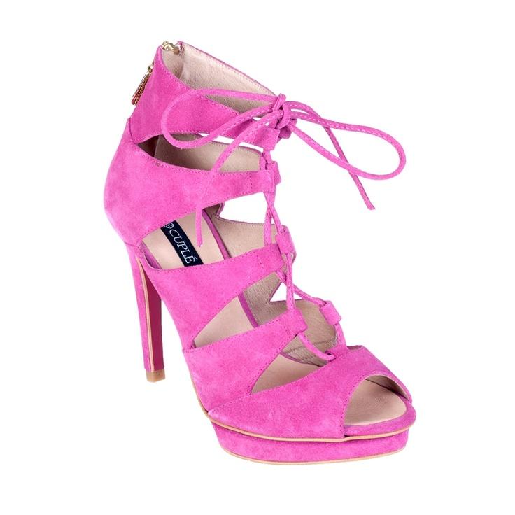 Sandalia cordones fucsia - Sandalias de tacón - Zapatos - Tiendacuple.com