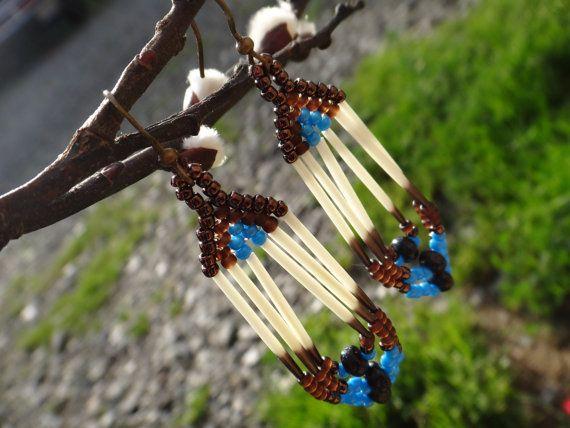 Piquants de porc-épic, boucles d'oreilles. Amérindien. Native American. Autochtone. Bijoux Amérindiens