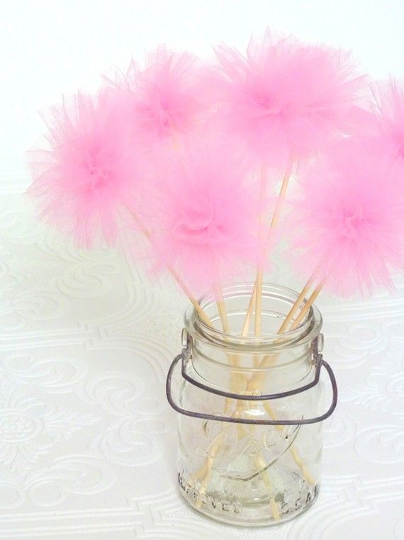 Tulle wands. Probably won't be a party favor at any of my three sons' birthdays, but these are so freakin' cute!