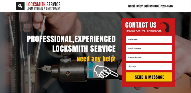 You can use our clean, modern and converting landing page designs to launch your business. Locksmith service lead form premium landing page design.
