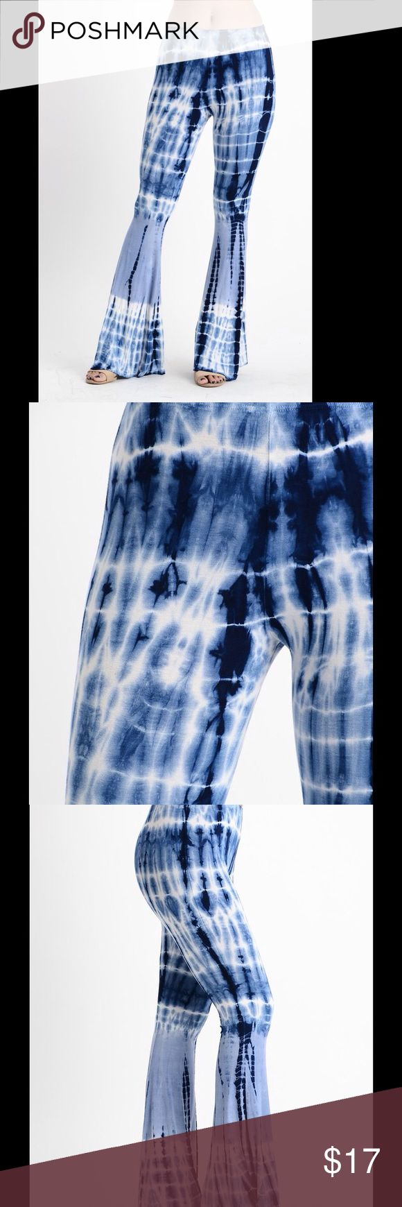 Electric Blue Tie Dye Bell Bottoms Very stylish high waisted bell bottoms Nu Label Clothing Pants Boot Cut & Flare