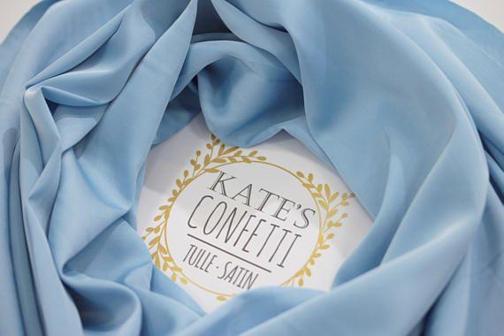 293 Soft Blue Satin Silk Fabric by the yard Soft Luxury Blue