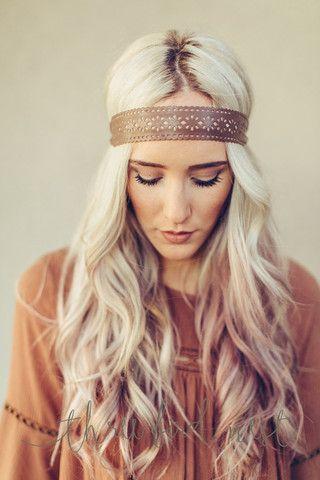 Scalloped Leather Headband by Three Bird Nest   Bohemian Clothing