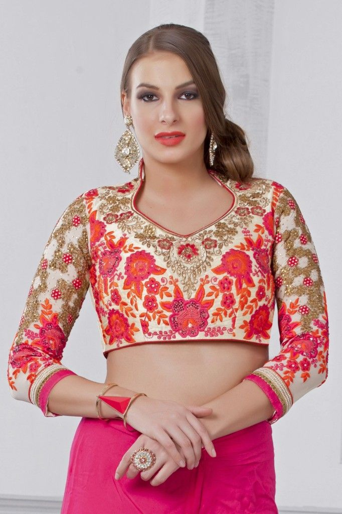 If your sari has a lot of colours or you just want to add a palette to your outfit, then pick a floral blouse with a burst of bright and pleasing colours. www.shopzters.com