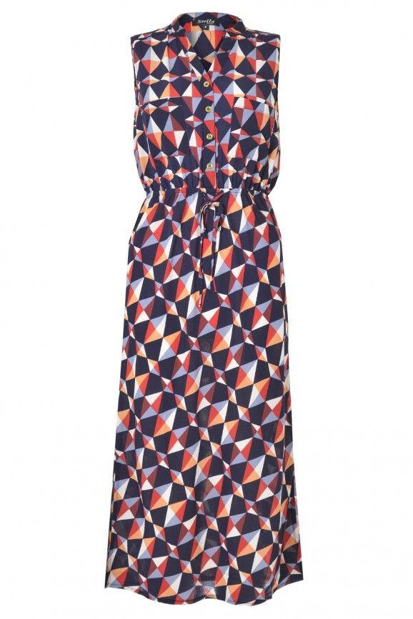 Kerrie Print Long Dress in Multi Red