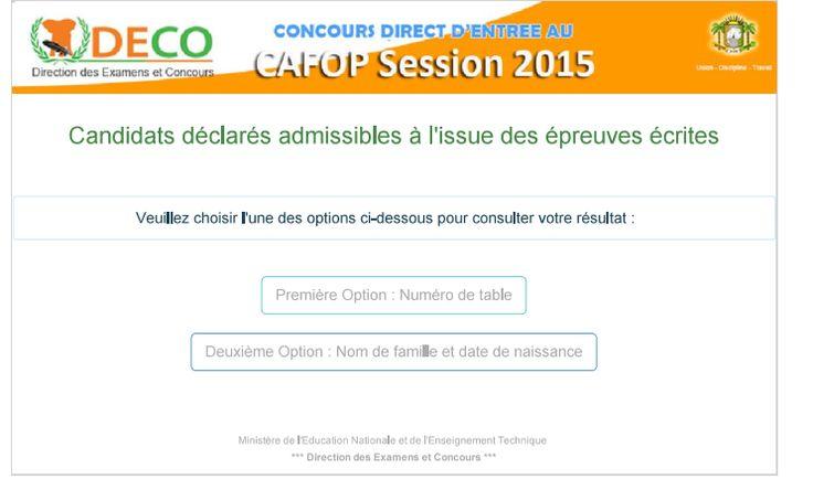 MEN-DECO/RESULTATS CAFOP SESSION 2015/CANDIDATS DECLARES ADMISSIBLES A L'ISSUE DES EPREUVES ECRITES-PUBLIER