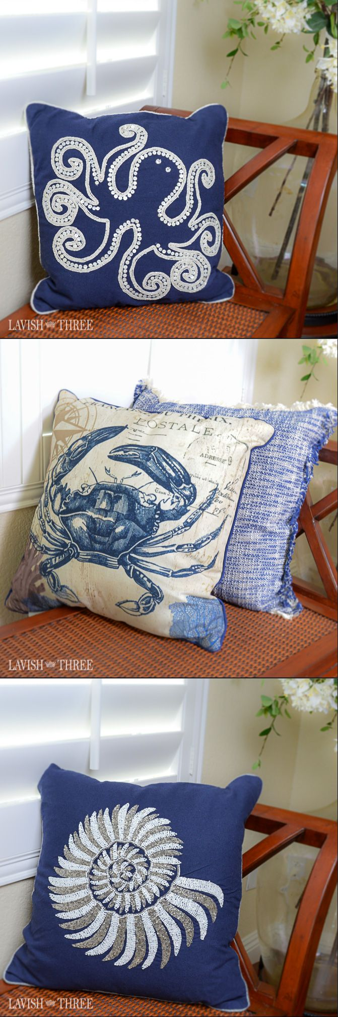 Nautical pillows will add a touch of beach beauty to your seaside cottage, beach front home or even a room in the suburbs! Love the navy and white beaded octopus or conch shell for the porch or the crab and tweed set in the bedroom.