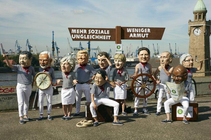Acto simbólico de Oxfam ante la Cumbre del G20 en Hamburgo en julio de 2017.