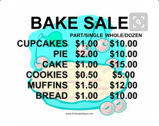 Good Prices For Work Bake Sale