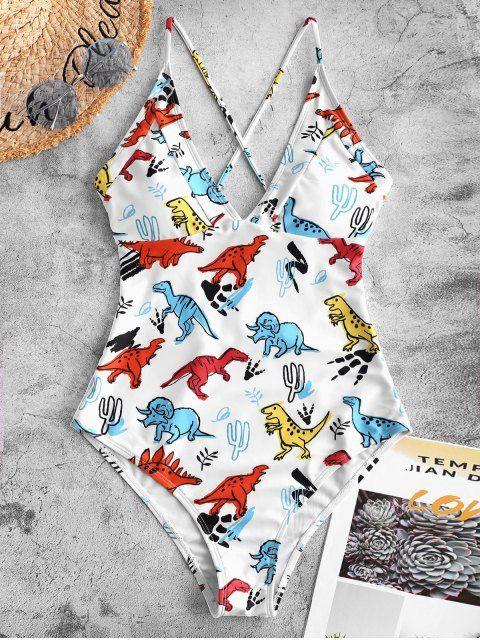 paquete elegante y resistente venta al por mayor minorista online Bañador de una pieza con estampado de dinosaurio cruzado ...