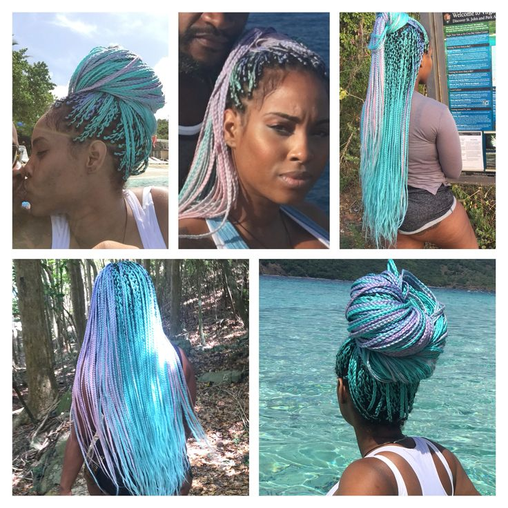Box braids, colorful hair, beautiful braids, blue braids, braid bun, unique hair
