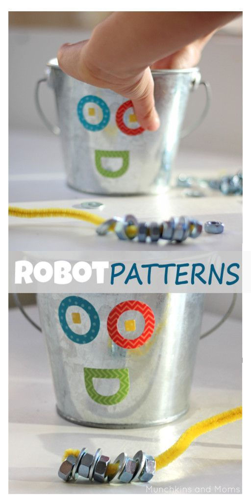 Robot Patterns Preschool Activity- Such a great mix of preschool skills including fine motor, following direnctions, patterning...