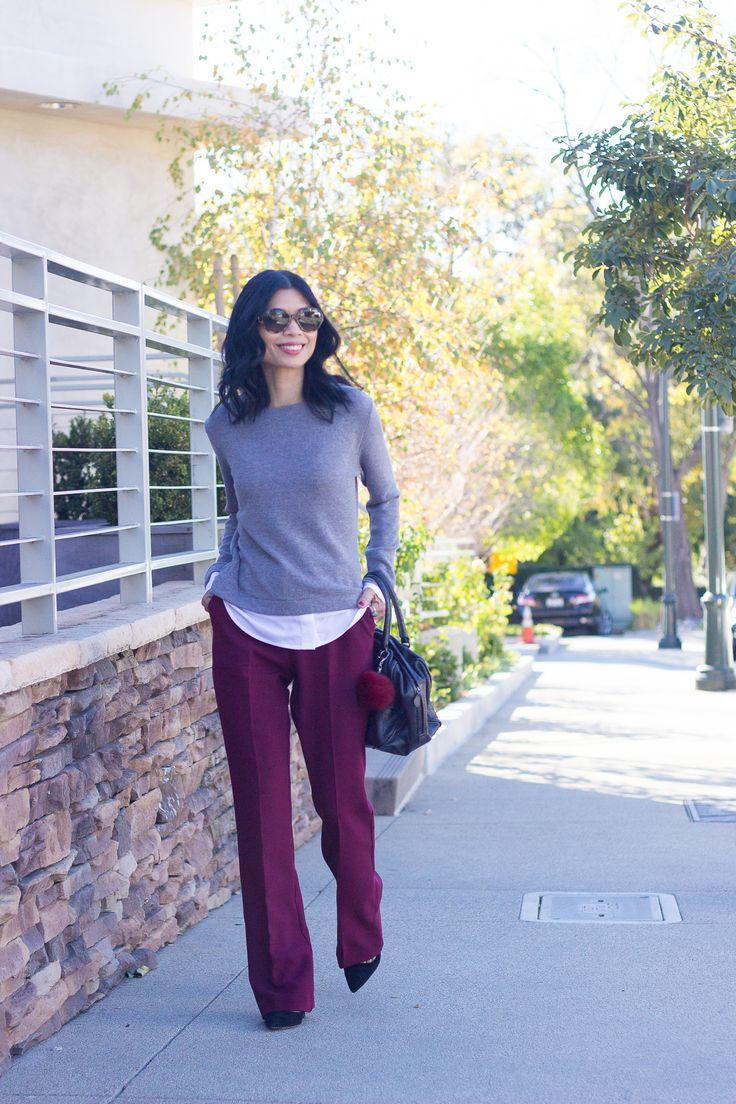 work wear, business conservative, burgundy slacks, grey sweater