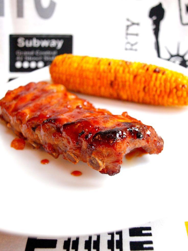 Travers de porc à la Texane et ses épis de maïs grillés ( Spare ribs )